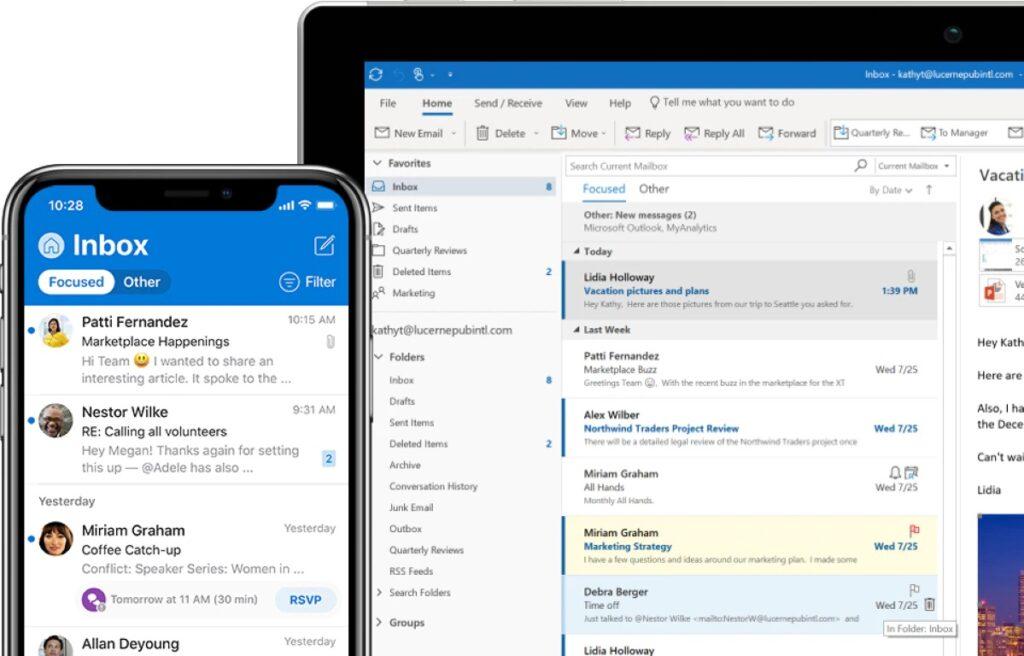 Skærmbillede af Outlook på desktop og smartphone.